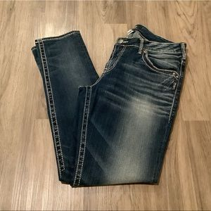 New Silver Boyfriend Mid Rise Slim Leg Blue Distressed Jeans 32